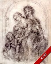 LEONARDO DA VINCI PRE PAINTING SKETCH SAINT ANNE CATHOLIC ART REAL CANVAS PRINT