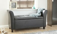Verona Window Storage Seat Black Ottoman Bedding Blanket Box Faux Leather