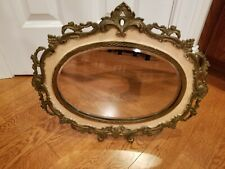 Vintage/antique Brass Ornate Stand Up Or Hang Oval Beveled Glass Mirror