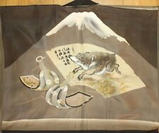 Vintage Japanese Mens Smooth Silk Mt. Fuji Wild Boar Liner Haori FREE SHIPPING
