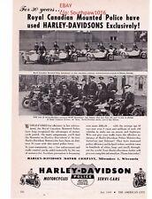 "1949  Vintage Harley Davidson Police Motorcycles ""RCMP Canada"" Print Advert"