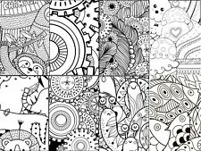 8 colouring in canvas designs on a 12x16in canvas, 6x4in ea,Flat Canvas,Wall Art