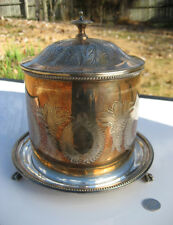 Antique Engraved Hulkin & Heath H&H Silver Lidded Biscuit Barrel Jar Container
