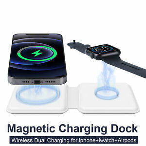 2 in 1 Folding Dual Magnetic Wireless Charger For Apple iPhone 12 Watch Air pods
