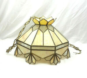 """Vintage Stained Lead Glass Hanging Ceiling Light Tan 14"""" Diameter 48"""" Chain"""