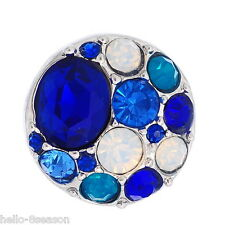 1pc Snap Button Fit Snap Bracelet Colorful Rhinestone DIY Blue 20mm
