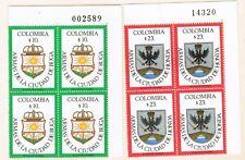 COLOMBIA Sc#905. 910 arms Honda, Buga. 2 Plate Blocks X 4,  MNH