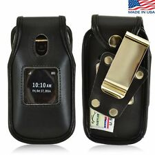 Turtleback Alcatel ONETOUCH Retro Leather Fitted Phone Case with Metal Belt Clip