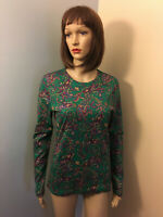 RALPH LAUREN Womens Sz M Green Paisley FITTED T SHIRT TOP Long Sleeve