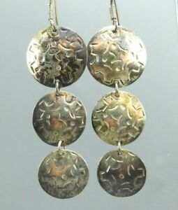 Vintage STERLING SILVER Dangle Earrings HAMMERED DISC CIRCLES Stamped PATTERN
