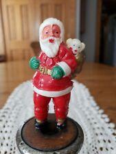 "Antique Celluloid Christmas Santa Claus w/Puppy Empire Made Hong Kong 4""t"