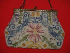 ancien sac de soirée /pochette  en perles et fils