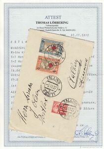 Estland, Estonia Brief von Estland nach Dänemark 1927 mit Attest