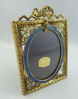 Dekorativer Tisch Bilderrahmen Loius Seize Stil Bronze + guillochiertes Emaille