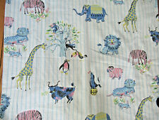 "VTG 1950's Circus Zoo Animals Barkcloth Drapery Fabric Blue Pink Rare 58""X74"""