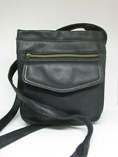 FOSSIL Black Pebbled Leather Crossbody Handbag w/ Large Front Pocket