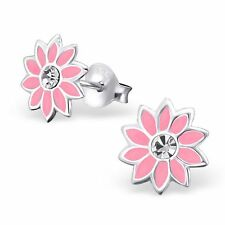 Childrens Kids Girls 925 Sterling Silver Flower Ear Studs with Crystals-Gift Box