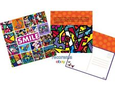 ROMERO BRITTO 24 POSTCARDS W/ NOTES OF LOVE, PEACE, FRIENDSHIP: SMILE  *NEW *