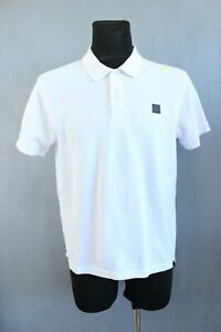 Bench. Classic White Short Sleeve Collared Men T-Shirt with Logo Size XL