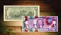 DEREK JETER CAPTAIN AMERICA PURPLE Rency / Banksy Street Art $2 Bill Signed #/70