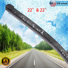 "2PCS 22"" & 22"" INCH Bracketless J-HOOK Windshield Wiper Blades OEM QUALITY US"