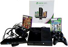 BUNDLE MICROSOFT XBOX 360 + KINECT 4GB CONSOLE BLACK 2 REMOTE CONTROL & GAMES **