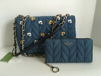Kate Spade Briar Lane Quilted Denim Crossbody Bag & Denim Neda Wallet NWT$618