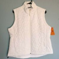 Champion Women's White Puffer Front Zip Up Athletic Vest Floral Embroidery Sz L