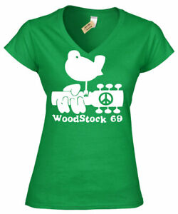 Womens Woodstock T-Shirt gift Present peace and music festival Ladies V-Neck