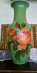 LARGE VASE, HAND CREATED WITH DECOUPAGE ROSES & LACQUERED, 35cm TALL, SIGNED