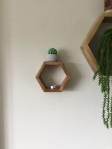 3 x Handmade Wooden Hexagon Wall Shelf (Hexagonal, honeycomb)