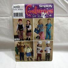 Simplicity Costumes Kids Pirate Cowboy Chef Dr Nurse Uncut FF #3650 Size 1/2-4