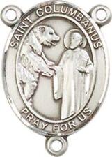 Sterling Silver Saint Columbanus Rosary Centerpiece Medal, 3/4 Inch