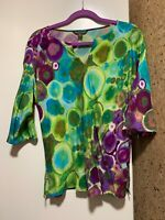 Tommy Bahama Top Abstract Watercolor Multi Colored, low shoulder sleeve 3/4, SP