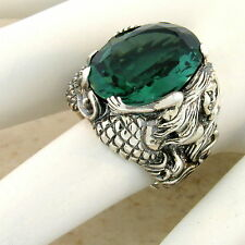 MERMAID RING SIM EMERALD 925 STERLING SILVER RING SIZE 7,                   #829