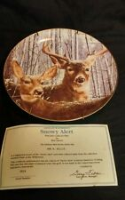 1992 Danbury Mint Snowy Alert by Bob Travers Limited Ed. Deer Plate 23Kt Cert