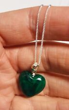 """Malachite heart pendant on a Sterling silver 925 20"""" curb chain"""
