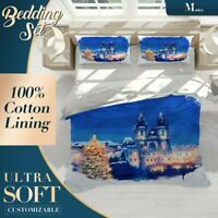 Castle Christmas Art Watercolor Blue Quilt Doona Cover Set Breathable Cotton