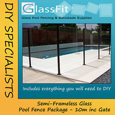 Semi-Frameless Glass Pool Fence Package - 10m Including Gate - Core Drill