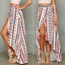 New BOHO Hippy Women Summer Striped Floral Long Maxi Skirt Beach Dress Sundress