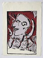 Domingo Garcia, Expressionist Self Portrait Serigraph 1984, Puerto Rico Art