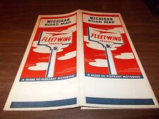 1940s Fleetwing Michigan Vintage Road Map