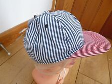 NEFF TICKING STRIPES BUTCHERS PEAKED HAT CAP ONE SIZE BNWT BLING RED BLUE WHITE
