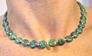 "NATURAL GREEN JASPER WITH SILVER BEAD NECKLACE 41CM/16"" LONG"