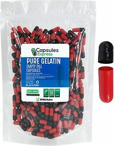 XPRS Nutra Size 0 Empty Capsules - 500 Count, Colored Empty Gelatin Capsules...