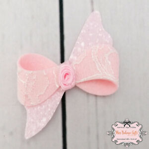 Pink Lace and Glitter Rose Hair Bow Clip