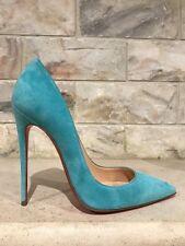 NIB Christian Louboutin So Kate 120 Blue Source Light Suede Heel Pump Shoe 34.5