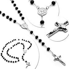 1 Rosenkranz Kette Halskette Kreuzkette Holzperlen Schwarz Silbern 55cm Kruzifix