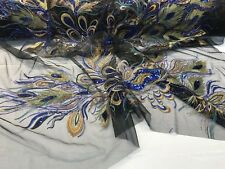 Peacock Embroidery with Royal Blue Sequins and Gold Metallic Tread on Black Mesh