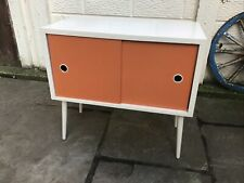 Retro Mid Century 1950s 1960s Record LP Disc Cabinet Atomic Painted Vintage Used